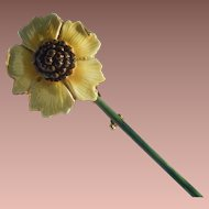 Sandor Enameled Sunflower Brooch