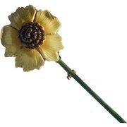 Sandor Enameled Sunflower Brooch