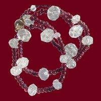 Cut Crystal & Garnet Necklace Vermeil Clasp