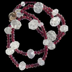Chinese Garnet & Crystal Necklace