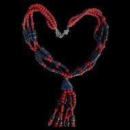 Lovely Coral & Lapis Necklace