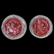 Old Chinese Cinnabar Earrings