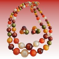 Coro Autumn Moonglow Necklace & Earrings