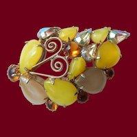 Open Back Milky Yellow Brooch
