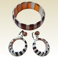 Dupont Striped Bangle & Earrings