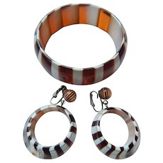 Dupont Striped Bangle & Earrings