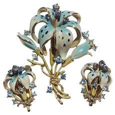 Enameled Blue Tiger Lily Set