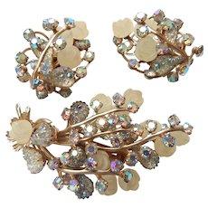 Molded Rose Brooch & Earrings