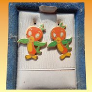 Vintage Disney's Orange Bird Pierced Earrings