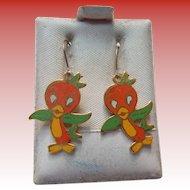 Vintage Disney's Orange Bird Pierced Earrings