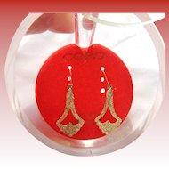 Coro Textured Earrings w/14k Ear Wires
