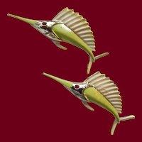 Enameled Swordfish Pin Pair