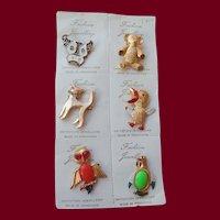 Set of 6 Figural Pins Hong Kong