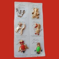 Set of 6 Figural Pins Hong Kong