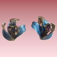 Satin Blue Enamel Earrings