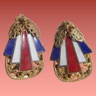 Miriam Haskell Patriotic Enameled Earrings