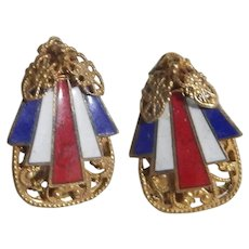 Miriam Haskell Patriotic Enameled Earrings