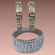 14K White Gold Band Ring & Earrings