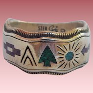 SouthWestern Sterling Inlay Ring