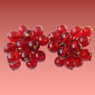 1940's Cherry Red Glass Bead Earrings