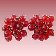 1940's Cherry Red Glass Bead Earrings