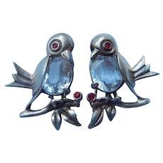 PR Sterling Rhinestone Bird Brooches