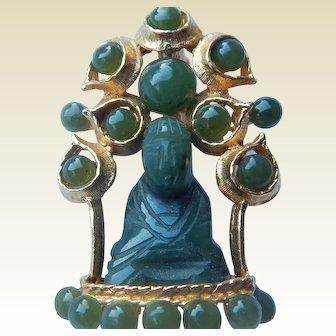 Swoboda Jade Buddha Brooch