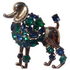 Trifari Jeweled Symphony Poodle Brooch