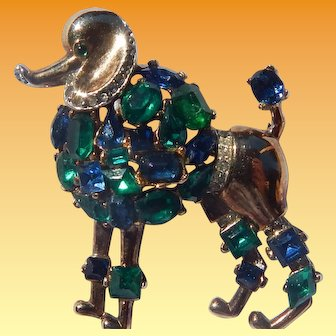 Trifari Jeweled Symphony Poodle Brooch