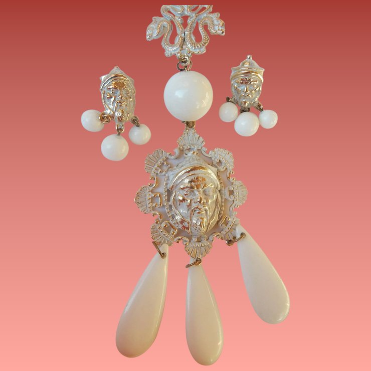 Figural Asian Face Necklace Earrings