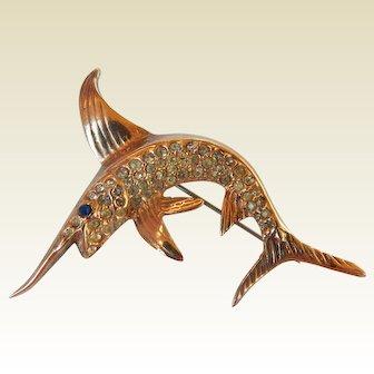 Sterling Vermeil Swordfish Brooch