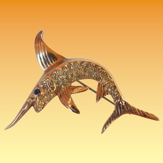 Sterling Vermeil Swordfish Brooch