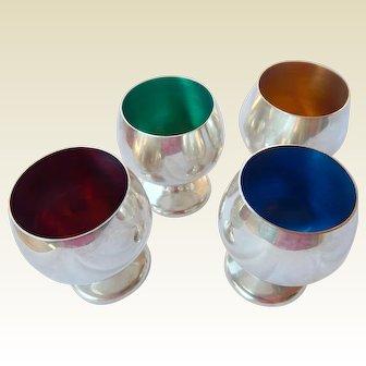 Gorham Enameled Sterling Shot Cups