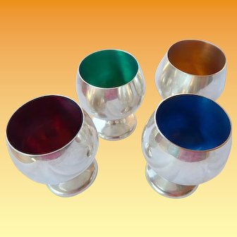 Gorham Enameled Sterling Shot Cups