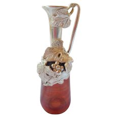 Artisan Sterling & Flashed on Glass Cruet