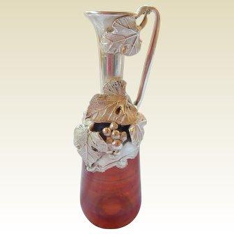 Artisan Sterling & Flashed on Glass Cruet