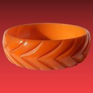 Beautifully Carved Orange Bakelite Bangle