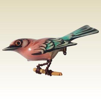 Takahashi Painted Wood Bird Brooch