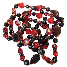 Red & Black Glass Bead Necklace