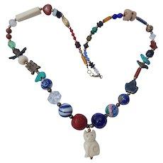Multi Bead Carved Bone Cat Necklace