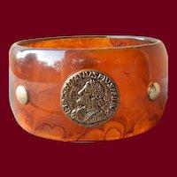 Amazing Bakelite Bangle W/ Embedded Coins
