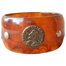 Amazing Bakelite Bangle W/ Embedded Coins