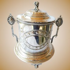 English Silver P. Figural Medallion Biscuit Jar