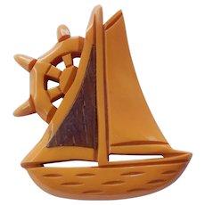 Carved Bakelite & Wood Sailboat Brooch