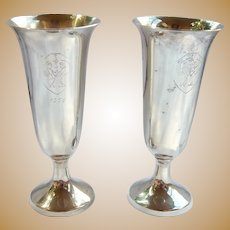 Pair Webb Sterling Shot Cups Cordial