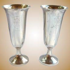 Pair Webb Sterling Shot Cups Cordial