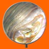 Large Sterling & Abalone Hat Pin