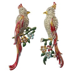 Coro Enameled Love Birds Fur Clip Duette