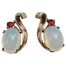 Trifari Sterling Moonstone Earrings