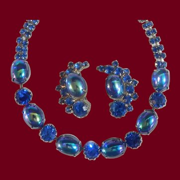 Stunning! Peacock Blue Necklace & Earrings